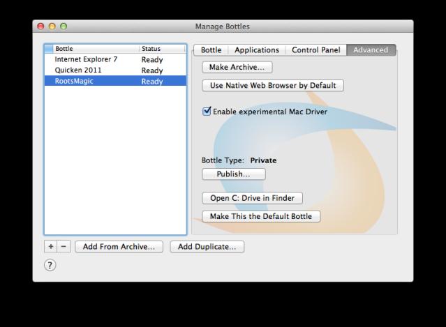 Mac Driver configuration